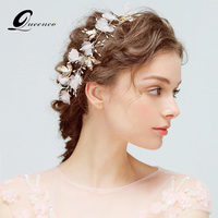 Pink Floral Wedding Tiara Bridal Headband Golden Butterfly Tiaras Hairband With Pearls Party Headpiece Bride Hair