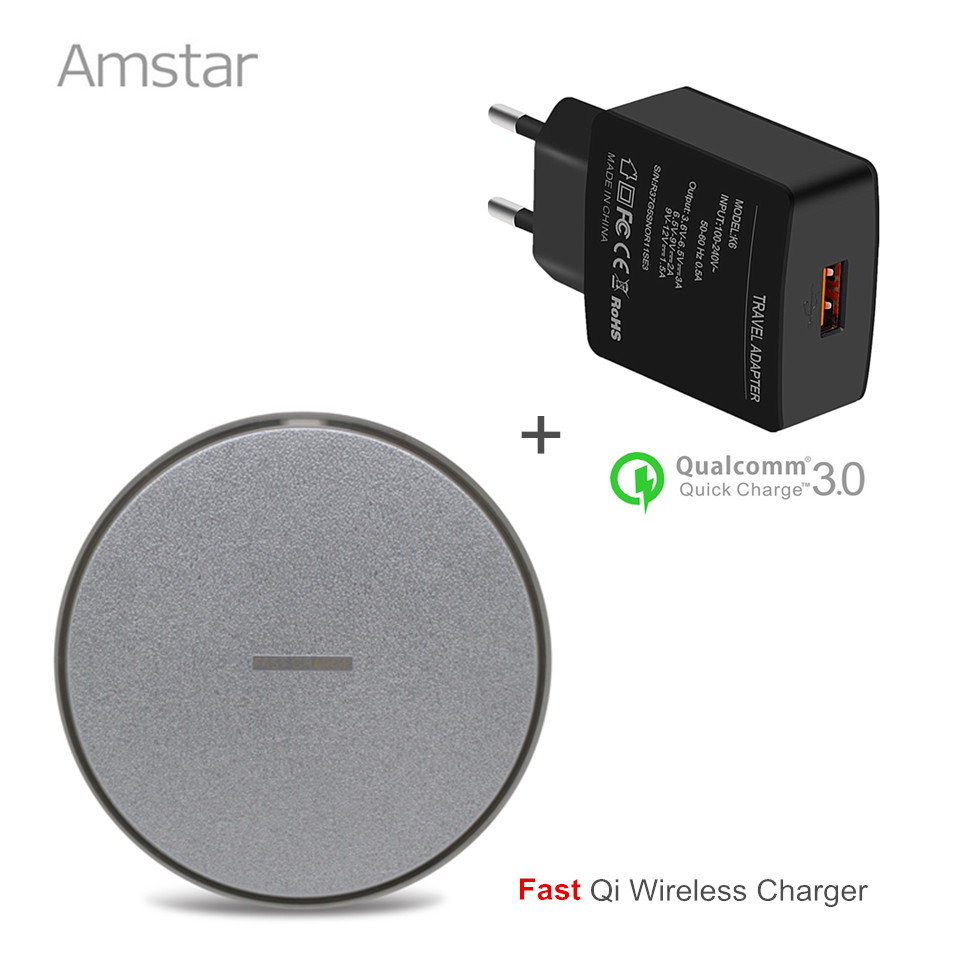 Amstar Fast Wireless Charger Pad 10W Qi Charger Fast Charge For Samsung Galaxy S8 Plus S7