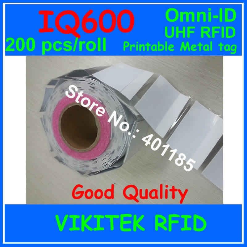Omni-ID IQ 600 UHF RFID printable metal tag 200 pcs adhesive Ultrathin labels 915M EPC C1G2 ISO18000-6C IQ600 Blood bag tracking fubag iq 200