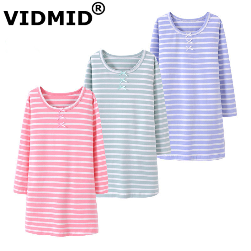 VIDMID Girls Summer Dress Baby Clothing Brand Kids Dresses for 3-12 years Girls striped long sleeve cotton Clothes dress 7010 37 kids girls birthday dresses infant dress newborn girls baby cotton long sleeve clothing 0 4 years