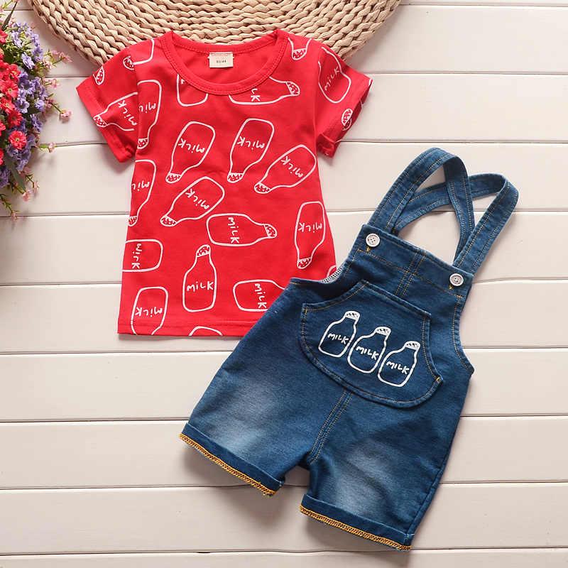 BibiCola letnie zestawy ubrań dla chłopców 2 sztuk bawełna karton z krótkim rękawem + spodnie w paski dres ubrania zestaw odzieży na co dzień lato