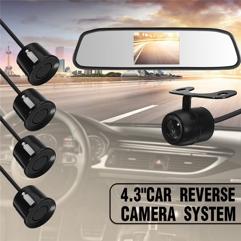 4.3 inch Car mirror Rearview Backup Camera Night Vision Car Rear View Alarm camera System with 4 Parking Sensors Reverse Sensor 1 sound alarm ccd hd car reverse backup led rear view camera parking radar system rearview camera 2 sensors with monitor