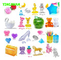 HAPPYXUAN DIY 3D Jigsaw Crystal Puzzle Heart Diamond Earth Skull Moon Star Football Rose Pyramid Double Decker Bus Children's