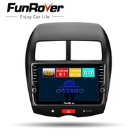 Funrover android 8.1 2 din car dvd multimedia player for MITSUBISHI ASX Peugeot 4008 Citroen gps navigation 4G+64G Split screen