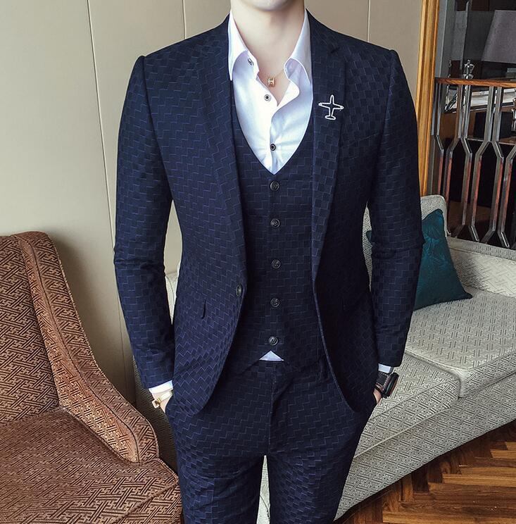 Nuevos trajes para hombres 3 piezas traje de boda Otoño Invierno Vintage Plaid trajes para hombres traje Homme Slim Fit Swallow gird traje