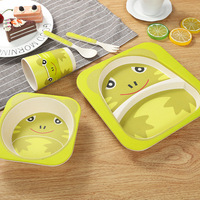 5pcs Set Baby Tableware Set Kids Cartoon Plate Infant Feeding Square Bowl Fruit Dishes Plates Container