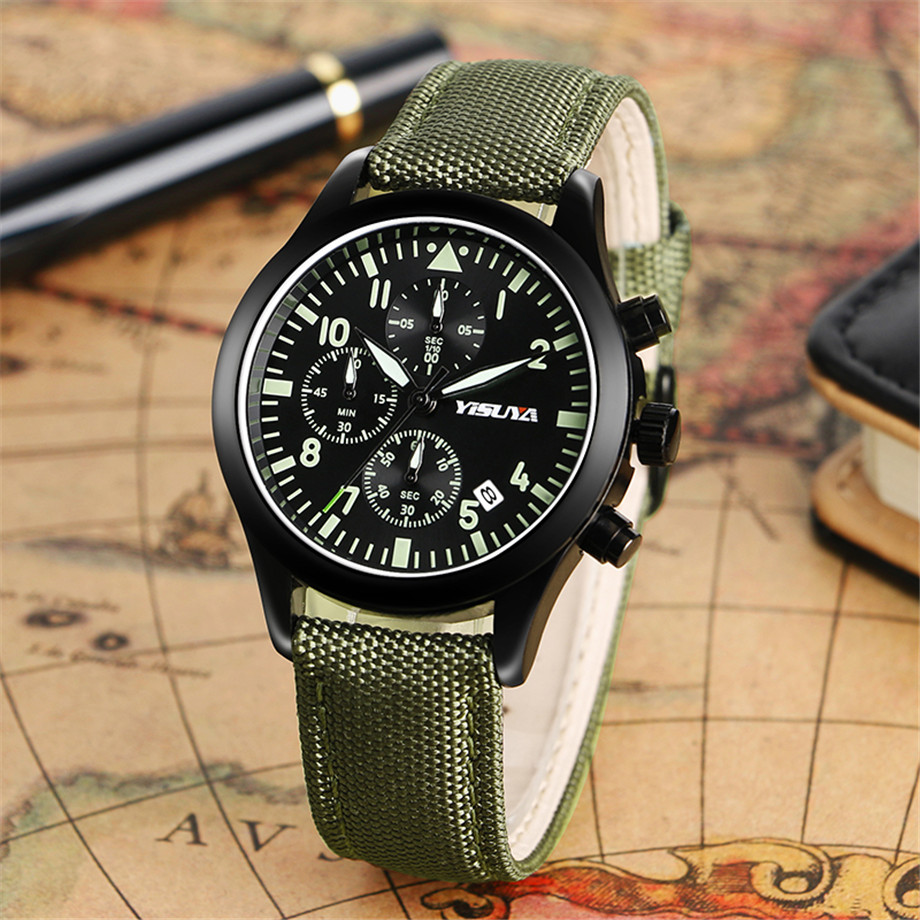 ba6c8d0116c YISUYA Watch Men Chronograph Quartz Army Green Day Date Stylish Sport Man s  Wristwatches Aviator Nylon Strap ...