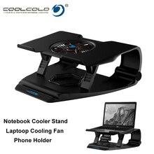 Coolcold 노트북 냉각 스탠드 단일 팬 노트북 쿨러베이스 공기 냉각 7 각도 조절 홀더 15.6 17 노트북 미끄럼 방지