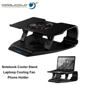 Image 1 - Coolcold portátil suporte de resfriamento único ventiladores notebook base refrigerador de ar de refrigeração 7 ângulo ajustável titular para 15.6 17 portátil antiderrapante