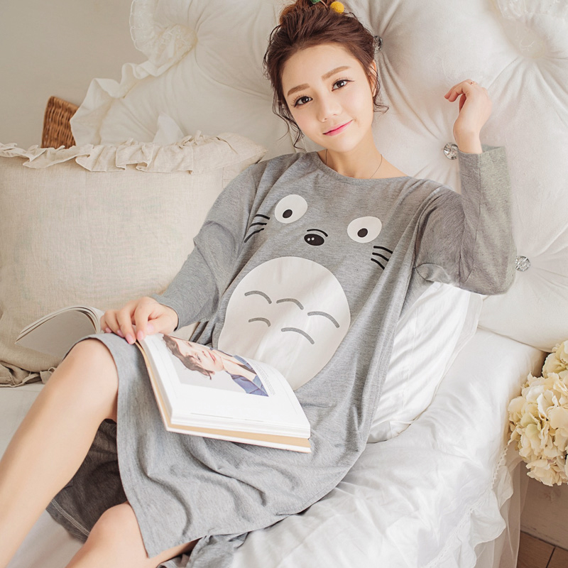 2018 Spring Autumn Cotton Women Nightgown Female Cute Cat Sleepwear Pregnant Lady Sleepshirt & Casual Home Clothes