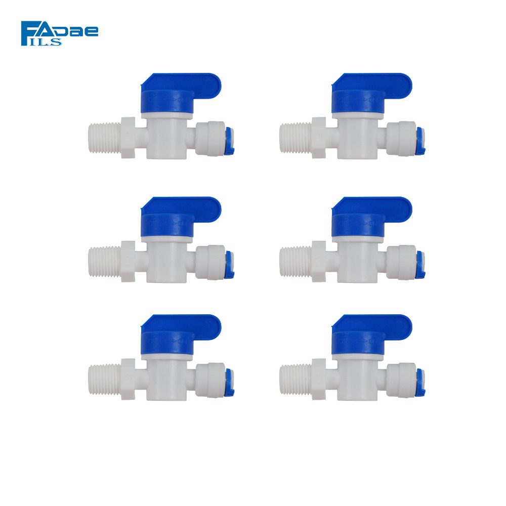 Water Filter Parts Plastic ON OFF Ball Valve 1/4 Inch Male Thread to 1/4 Inch Quick Connector (6 PACKED) 1 2 thread to hose tail 1 4 air control ball valve zmm