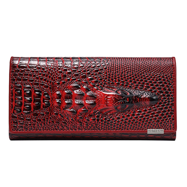 Hot sale luxury crocodile cow leather wallet women clutch bag brand luxury crocodile cow leather wallet women clutch bag brand long genuine leather business colourmoves