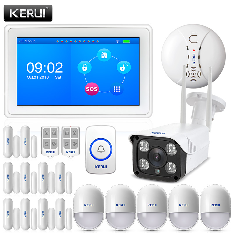 KERUI original touch-screen amazing design 7 Inch TFT Color Display WIFI+ GSM flat table Alarm System kit with outdoor camera kr k7 new arrival touch screen amazing design 7 inch tft color display wifi gsm flat table alarm system kit sd03 smoke detector