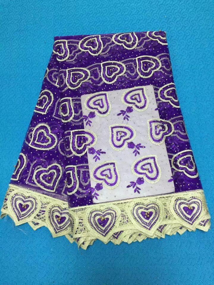 5 Yards/pc offre spéciale violet français net dentelle coeur broderie conception africaine maille dentelle tissu avec strass pour robe BN96-6