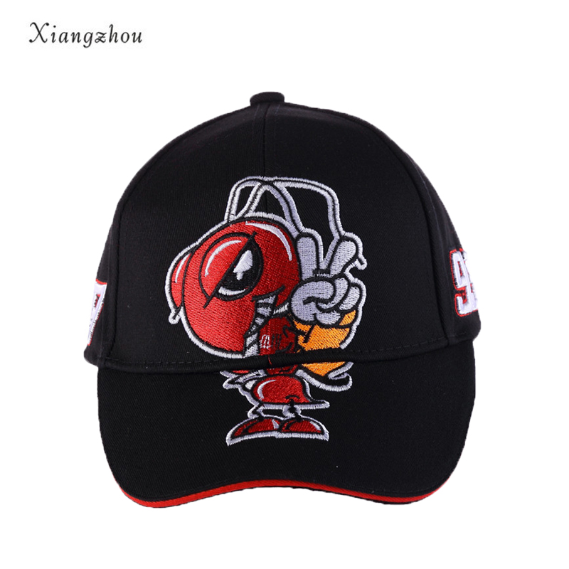 все цены на 2018 Hot Sell Cosplay Cartoon Big Ant Embroidery Marc Marquez Motorcycle Hat Sports Baseball Cap Men and Women Fashion Caps