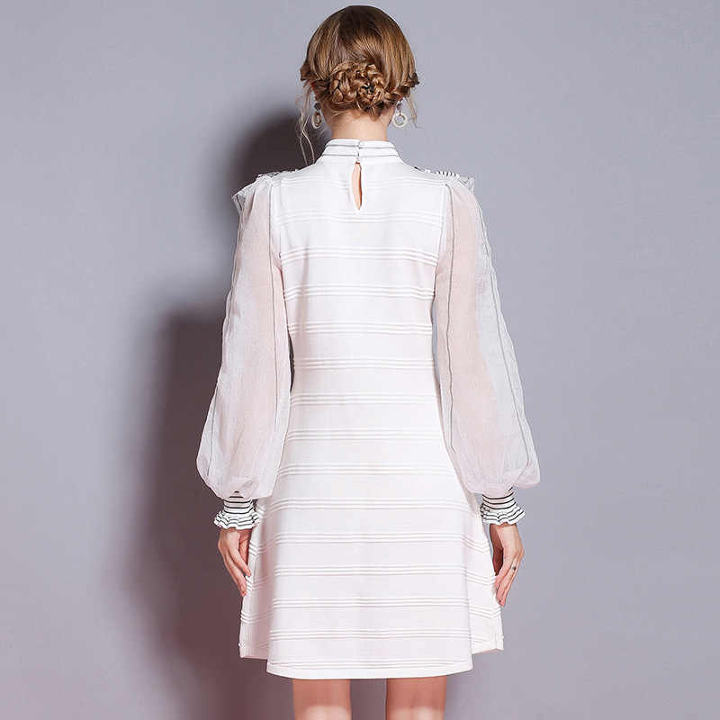 2018 платье-свитер высокого качества, Брендовое женское платье с рюшами в стиле пэчворк, винтажные рукава-фонарики, вязанное платье трапециевидной формы в стиле ретро, Vestido
