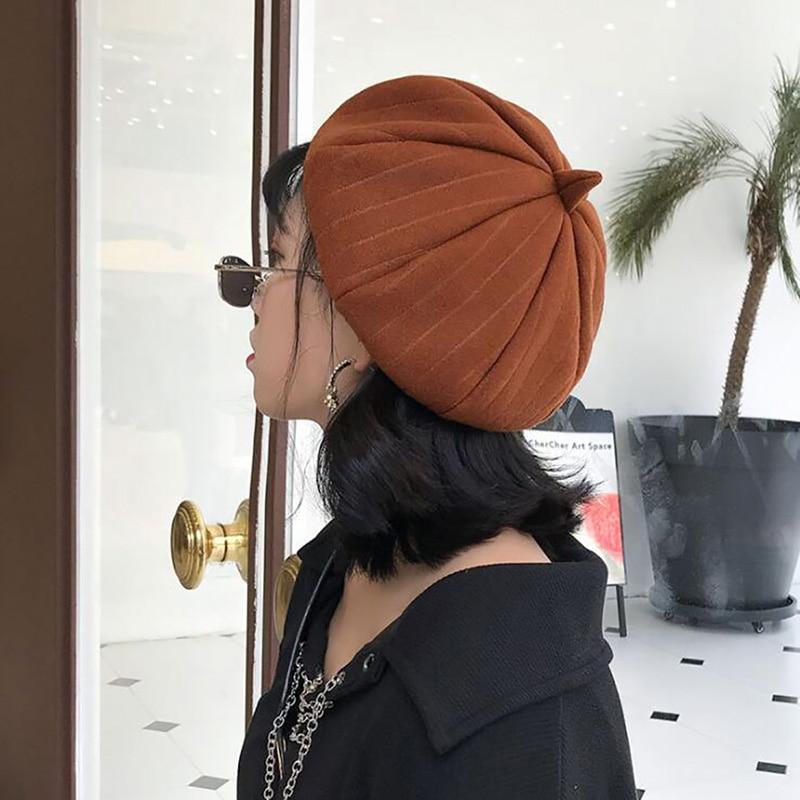 Lady Spring Winter Berets Hat Painter Style Hat Women Striped Vintage Berets Solid Color Caps Female Bonnet Warm Walking Cap