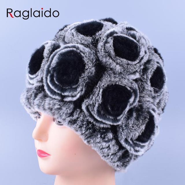 Moda floral gorras de invierno para Niñas Piel auténtica tejer Cap actual  feminidad Rex Pieles de 15c18cd51905