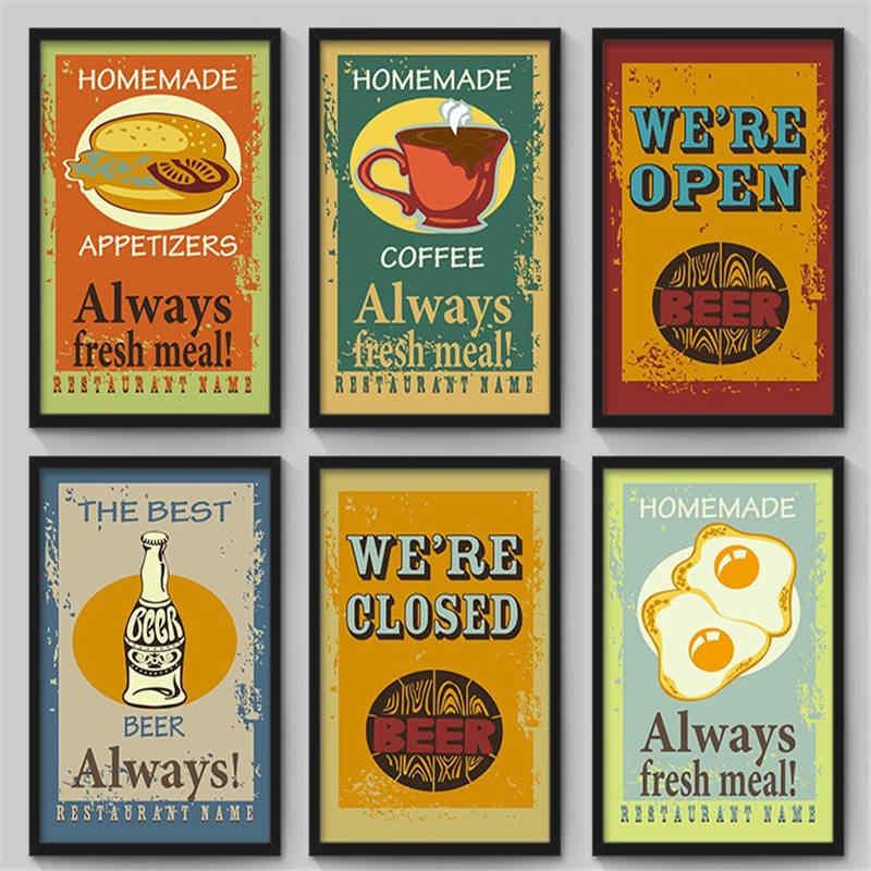 Restaurante occidental comida de postre Pizza hamburguesa lienzo carteles de pared y arte impresa en la pared fotos para tienda de té decoración del hogar sin marco