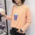 Primavera verão nova moda Coreana cabeça manga solta Riscas copo impressão camisa de manga longa de todos os jogo estudantes do sexo feminino