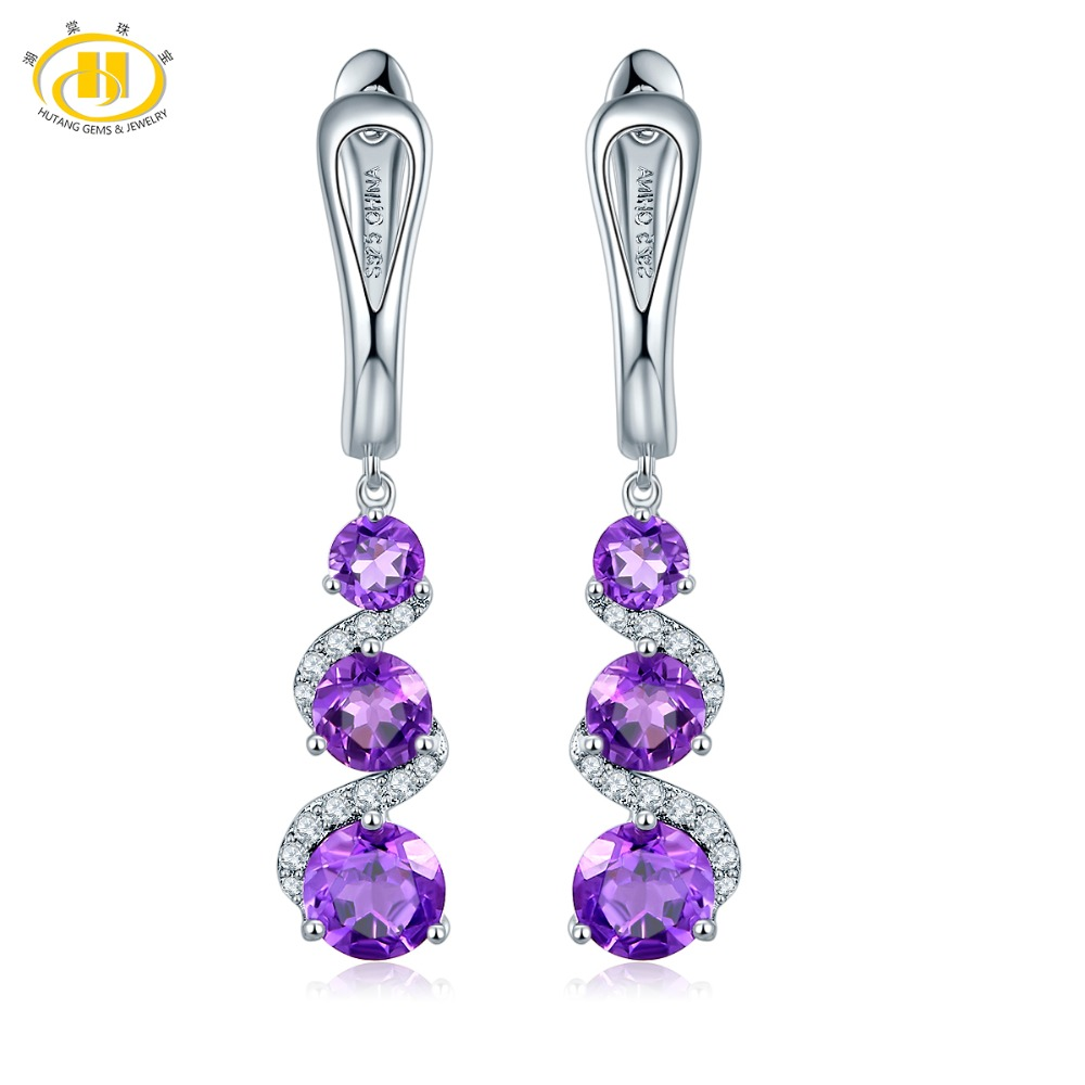 Hutang Clip Earrings 2.83ct Natural Gemstone African Amethyst 925 Sterling Silver Fine Elegant  Jewelry for Women Best Gift NEW