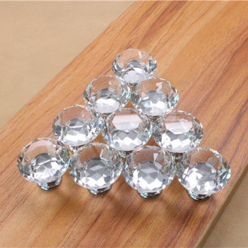 10pcs/set 30mm Glass Crystal Door Drawer Cabinet Wardrobe Pull Furniture Handles Knob css clear crystal glass cabinet drawer door knobs handles 30mm