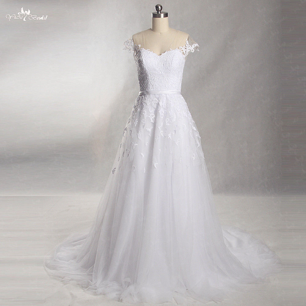 A Line Wedding Dresses With Cap Sleeves: Aliexpress.com : Buy RSW863 White Cap Sleeves Lace