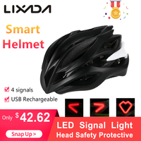 USB Rechargeable Smart Cycling Bicycle Helmet with 4 LED Signal Light Outdoor Sport Head Safety Protective Guard men 54 61cm