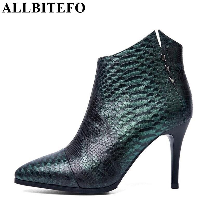 ALLBITEFO натуральная кожа Змеи текстуры сексуальные высокие каблуки платформы ботинки женщин острым носом туфли на каблуках женщина мартин са...