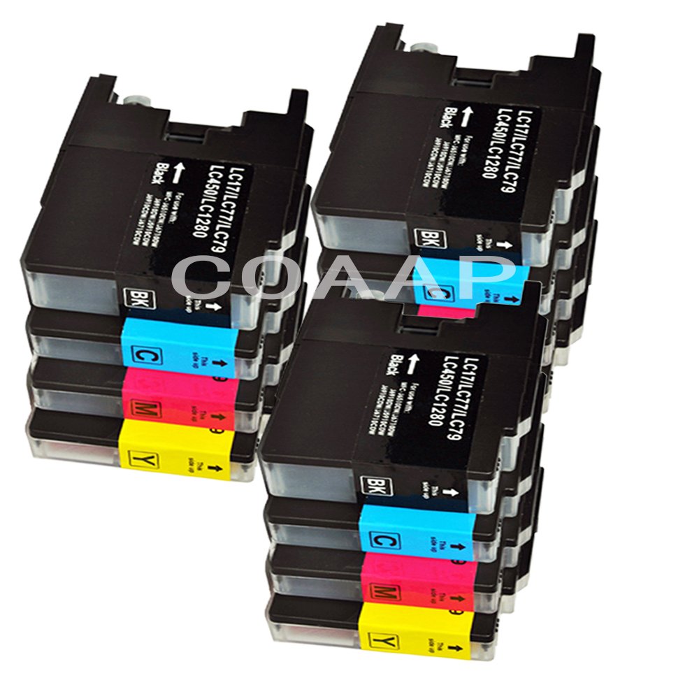12 Ink Cartridges to replace Brother LC73 LC77 LC75 LC79 LC1240 <font><b>LC1280</b></font> for DCP-J525W, DCP-J725DW, DCP-J925DW, Printer image