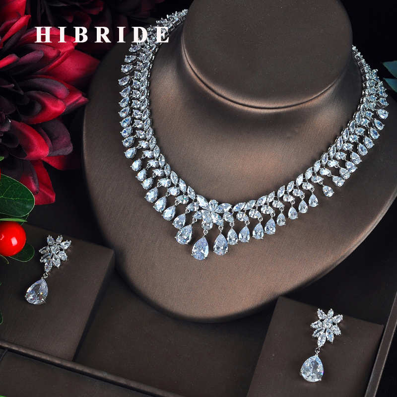 HIBRIDE Luxury Sparkling Full Cubic Zirconia Jewelry Sets For Women Earring Necklace Set Dress Accessories Party Gifts N-328 hibride luxury new butterfly shape earring necklace jewelry set women party jewelry small link pendant brincos bijoux n 643