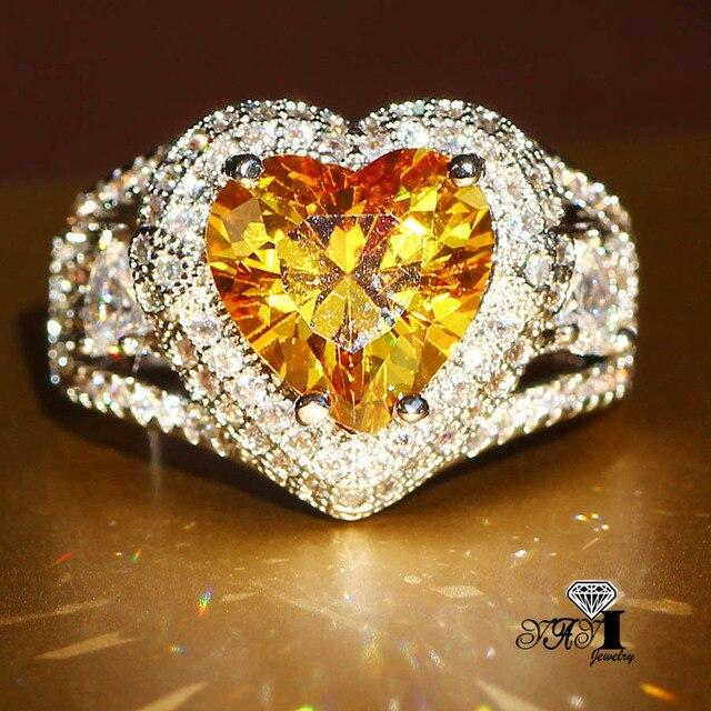 YaYI Jewelry Fashion Princess Cut 3.5CT Yellow Zircon Silver Color Engagement Ri