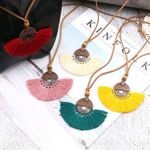 Bohemia Handmade Mix Color Tassel Long Chain Necklaces for Women Vintage Gypsy Round Pendant Necklaces Sweater Chain Choker(China)