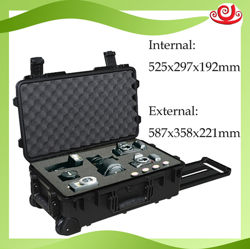 Waterproof Safety Tool Case Toolbox Trolley 587*358*221 Mm Deposit Box Impact Plastic Sealed Camera Case Tool Box With Foam
