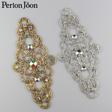 7.5*3.54 inch Oval Crystal welding applique rhinestone patches sew on sleeves waist for Wedding dress accessories YH Z021