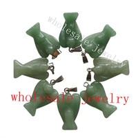 (Min. Order is $10) 10pcs Carved Green Aventurine Angel Pendant Bead H10 23x15x6mm (send randomly)
