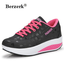spring women fitness shoes girls Slimming swing shoes platform sneakers female wedges Walking Shoes size 35-42