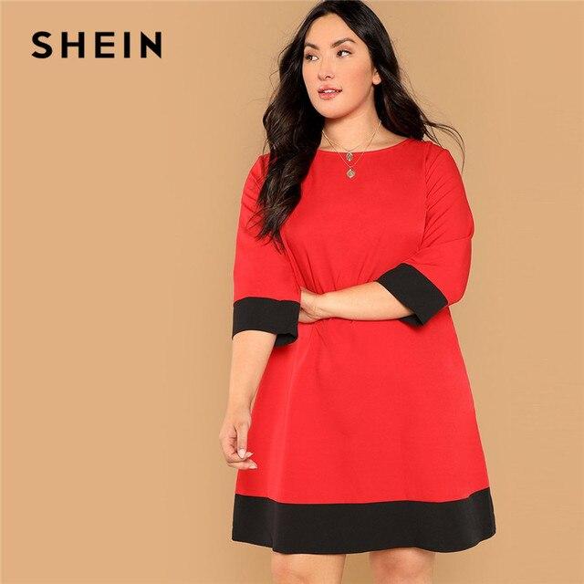 4e824a30ed SHEIN Red Colorblock Three Quarter Sleeve Plus Size Office Lady Straight  Dress Elegant Women Two Tone Knee Length Dresses
