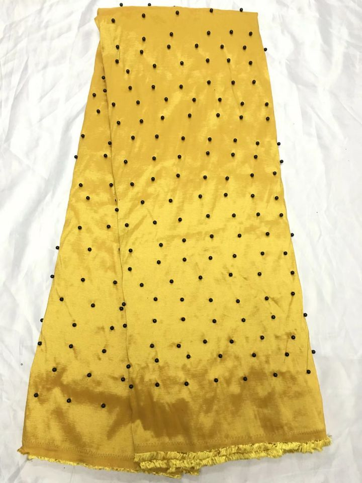 5 Yards/pc offre spéciale jaune George dentelle tissu avec perles décoration africaine coton dentelle pour vêtements QG2-3