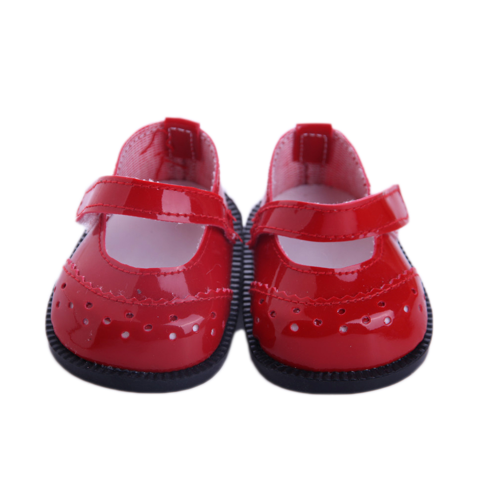 New red Leather shoes fit 43cm Baby Born zapf, Children best Birthday Gift,my Life Doll