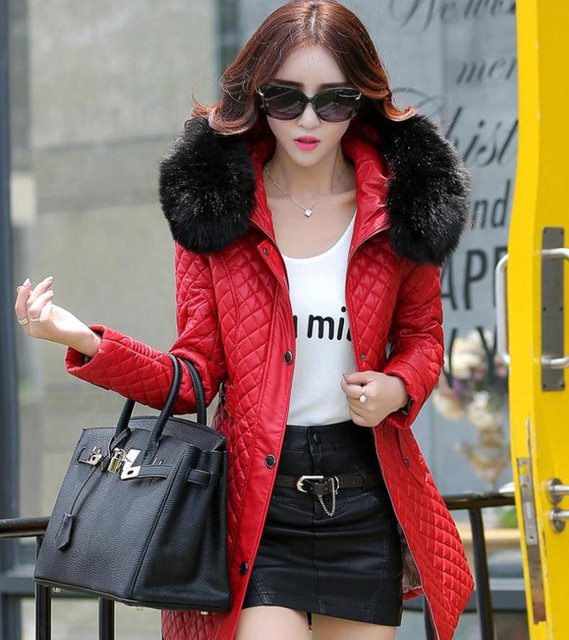 autumn and winter PU water washed leather clothing female medium-long plus size female slim trench outerwear plus cotton 1