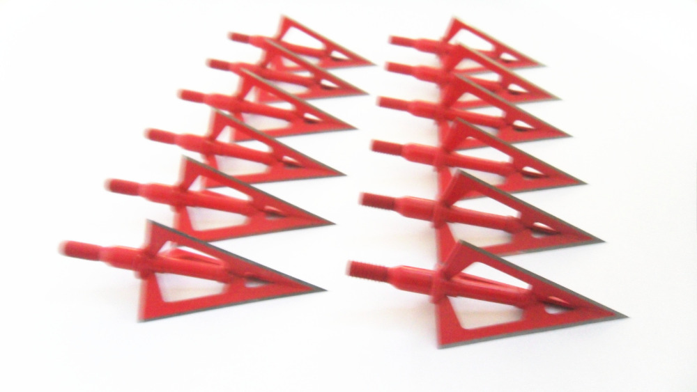 12PCs Red Stainless Steel Broadhead 100grain 3 Blade Arrowheads for Compound Bow and Crossbow Hunting vik max adult kids dark blue leather figure skate shoes with aluminium alloy frame and stainless steel ice blade