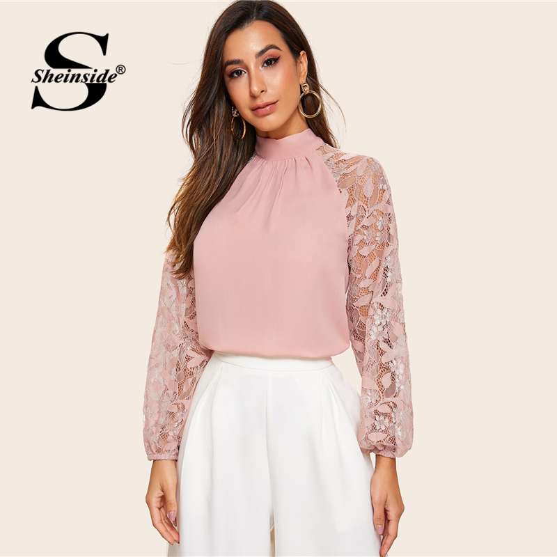 Sheinside Pink Elegant Contrast Lace Patchwork Sleeve Blouse Women 2019 Lantern Sleeve Blouses Ladies Solid Bow Tie Neck Top