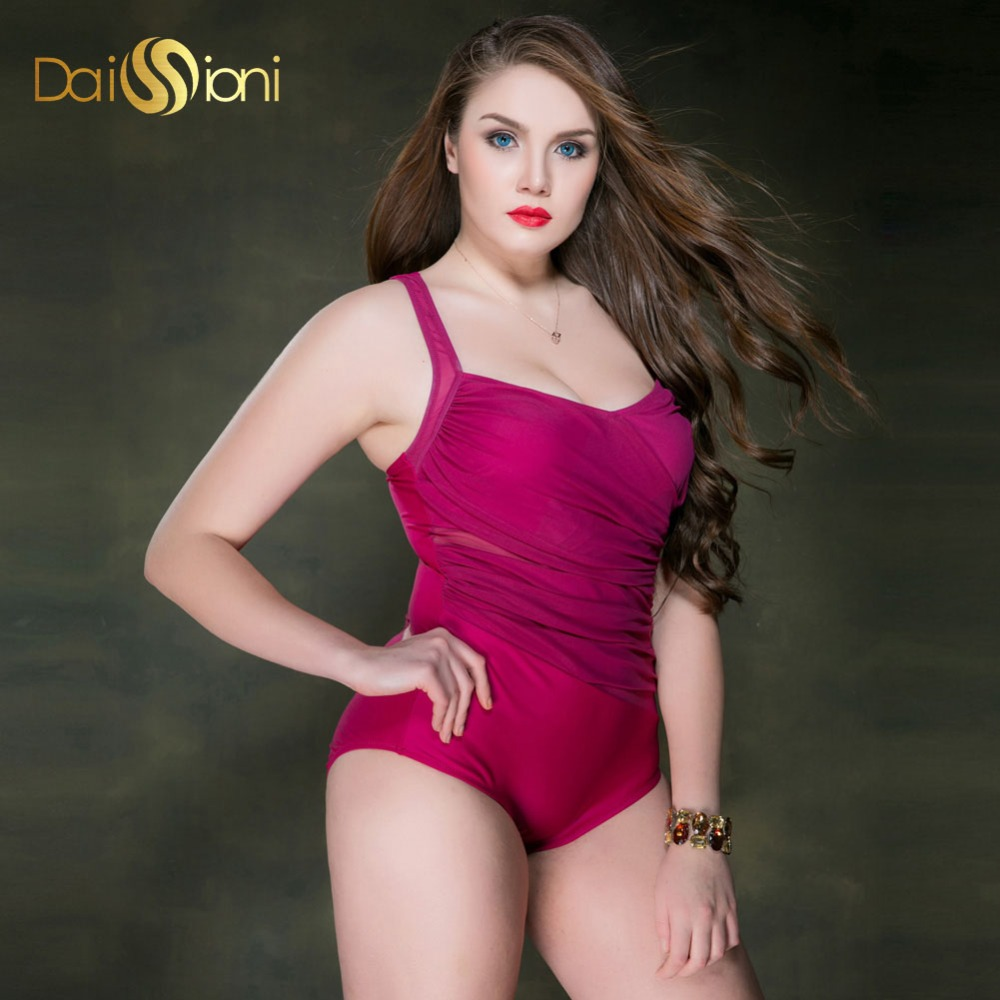 Sexy Women Plus Size Swimwear Push Up Solid Red One Piece Bathing Suit Maillot De Bain Vintage Monokini Large Bust Swimsuits 2017 ruffle one piece swimsuit push up swimwear women sexy monokini solid bathing suit high cut beachwear maillot de bain femme