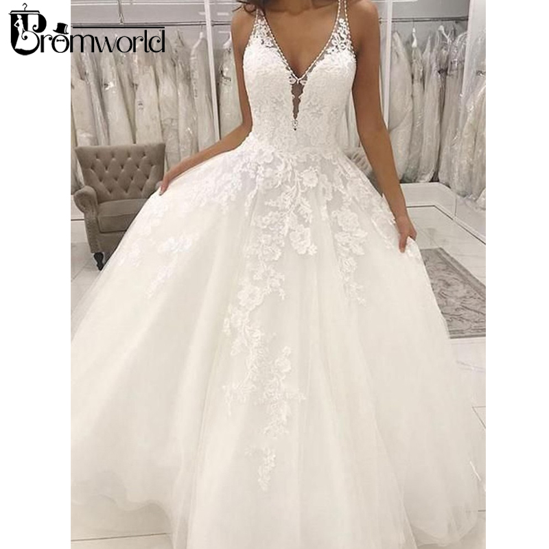 vestido de noiva Bride Dress Romantic Ball Gown V Neck Open Back White Lace Long Wedding Dresses 2019 Lace Tulle Wedding Gowns gown
