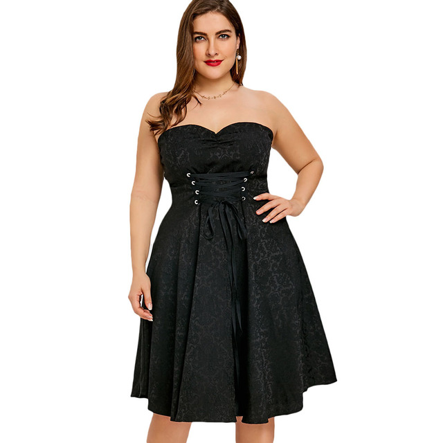 Gothic Style Plus Size 5XL Lace Up Strapless Party Dress Black Jacquard Feminino  Vestidos Sexy Evening Gown Vintage Dress cedd9003dd23