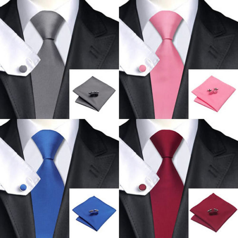 New Fashion Men Classic Solid Plain Fine Square Cufflinks Tie Woven Skinny Silk Blend Suits Ties Necktie Men Tie Set