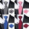 Nuevos Hombres de La Manera Classic Llana Sólida Fina Cuadrada de Las Mancuernas de Corbata Tejida Trajes de Mezcla de Seda Flaco Lazos Corbata de Los Hombres Corbata Set