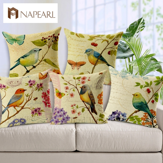 Peachy Us 7 75 49 Off Small Hand Painted Flowers And Butterflies Fresh Linen Sofa Cushion Car Cushion Style Soft Cushion Throw Pillow Seat Cushion In Inzonedesignstudio Interior Chair Design Inzonedesignstudiocom