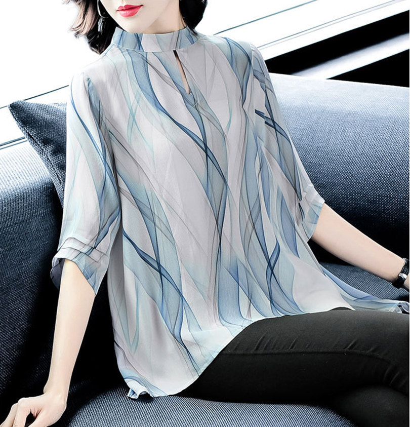 Spring and summer new style Wavy print irregular length top Fashionable and temperament ladies silk shirt in Blouses amp Shirts from Women 39 s Clothing